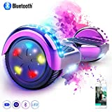 MARKBOARD Patinete Eléctrico 6.5' Hover Scooter Board con Luces LED, Flash Ruedas, Cinco Estrellas con Bluetooth, Scooter Monopatín Auto Equilibrio